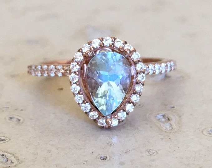 Aquamarine Halo Diamond Pear Engagement Ring