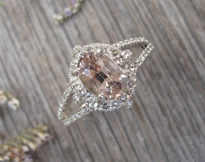 Natural Oval Morganite Vintage Engagement Ring- Genuine Morganite Split Silver Promise Ring- Antique Morganite w/White Topaz Solitaire Ring
