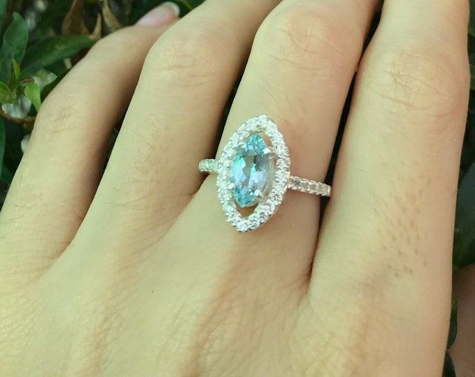Marquise Aquamarine Engagement Ring- Aquamarine Navette Promise Ring- Halo Aquamarine Ring- March Birthstone Ring- Something Blue Ring