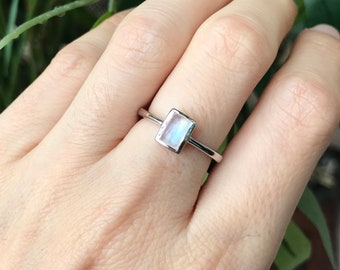 Moonstone Rectangle Small Ring- Rainbow Moonstone Stack Dainty Ring- Simple Minimalist Boho Iridescent Ring-North South June Birthstone Ring