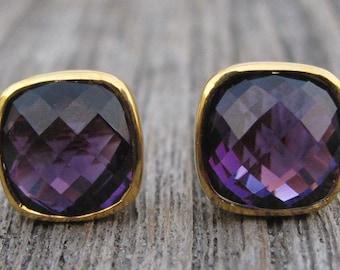 Rose Gold Amethyst Earring- Purple Amethyst Earring- February Birthstone Earring- Sterling Silver Earring- Square Cushion Purple Earring