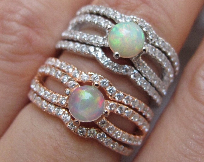 Round Opal Bridal 3 Ring Set- Cabochon Opal Welo Engagement Ring Set- Split Shank Genuine Opal Prong Rings- Rose Gold Silver Fire Opal Ring