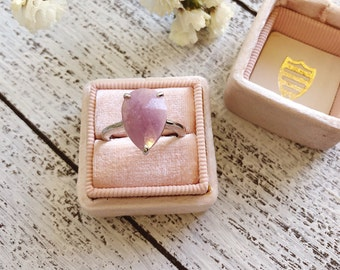 Raw Pink Sapphire Engagement Ring- Pear Engagement Ring- Genuine Sapphire Ring- September Birthstone Ring- Alternative Color Gemstone Ring