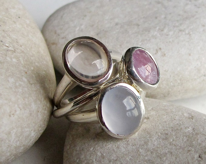 Pink Blue Ring Set- Pastel Stakable Gemstone Ring- Unique Statement Ring- Oval Round Shape Stacking Ring