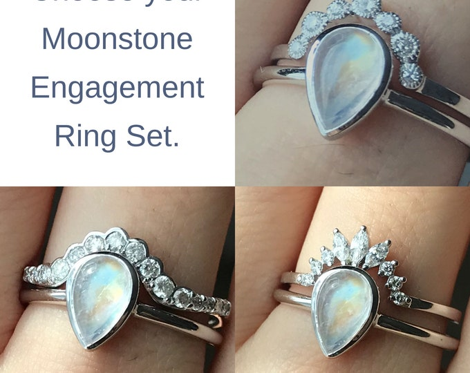Moonstone Engagement Ring Set- Vintage Teardrop Moonstone Bridal Ring Set for Her- Deco Cabochon Moonstone Diamond Wedding 2 Ring Set