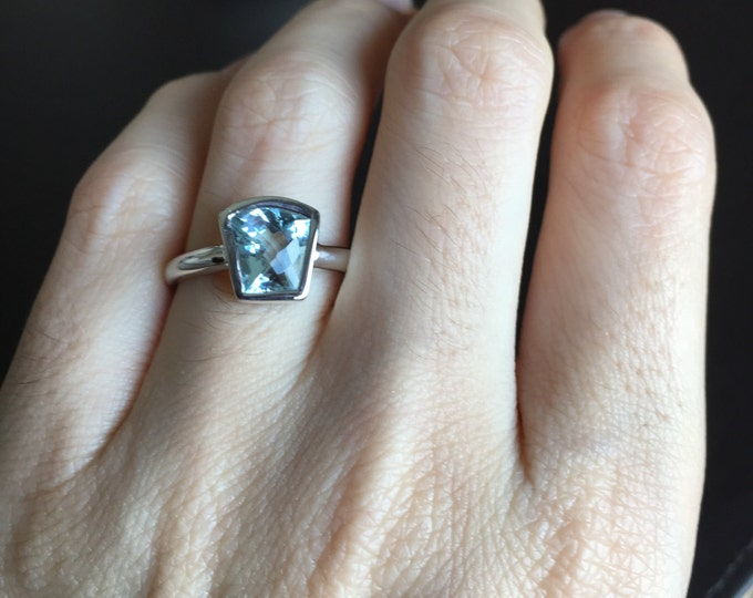 Natural Aquamarine Engagement Ring- Aqua Blue Promise Ring- Wedding Bridal Anniversary Ring- March Birthstone Silver Ring- Trapeziod Ring