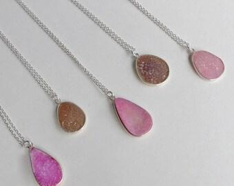 Druzy Necklace Pink