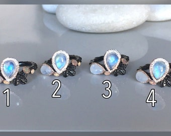 Bohemian Multistone Ring- Boho Moonstone Opal Ring- Nature Inspired Ring- Floral Leaf Black Ring- Gothic Punk Ring