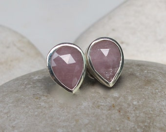 Pink Sapphire Raw Stud Earring- Rough Faceted Sapphire Pear-Shaped Earring- Classic Simple Minimal Earring- September Birthstone Raw Earring