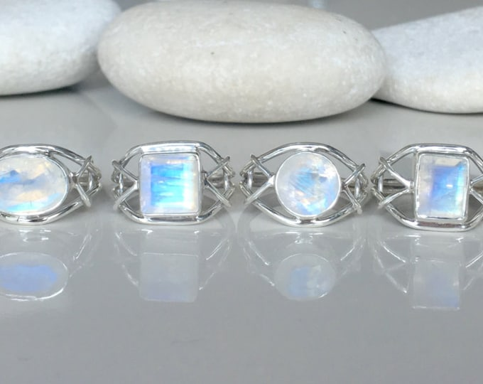 Moonstone Ring Asymmetrrical Boho Statement Ring- June Birthstone Ring- Gypsy Moonstone Bezel Ring Sterling SIlver All Sizes 9 10