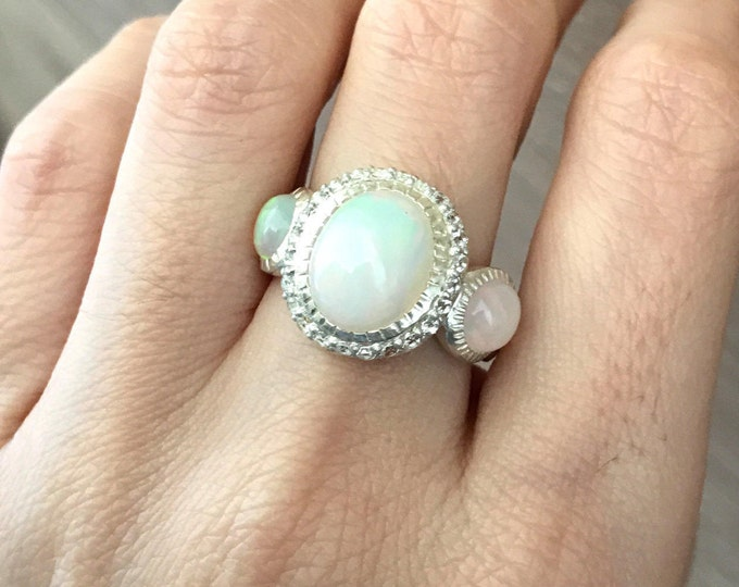 Welo Opal Statement Ring- Unique Opal Engagement Ring- Oval Promise Ring- October Birthstone Ring- Sterling Silver Boho Ring- Bohemain Ring