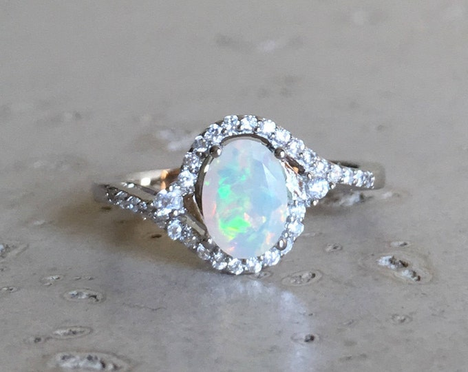 Halo Opal Promise Ring- Oval Opal Engagement Ring- Art Deco Bypass Ring- Welo Opal Solitaire Ring- October Birthstone Ring- Swirl Ring