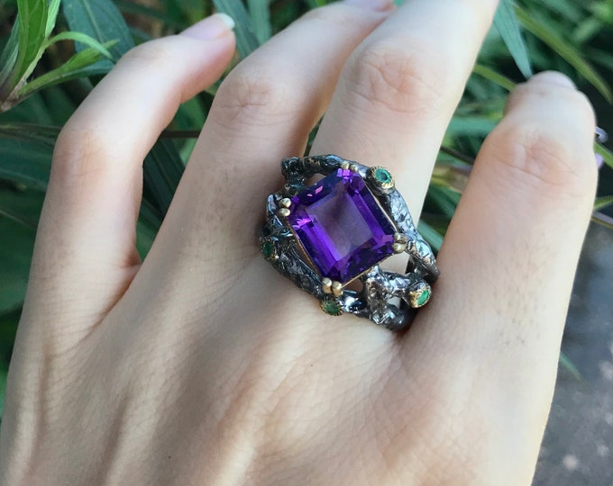 Nature Inspired Rustic Amethyst Statement Ring- Black Multiple Branch Gothic Gemstone Ring- Unique February Birthstone Ring- Unisex Men Ring