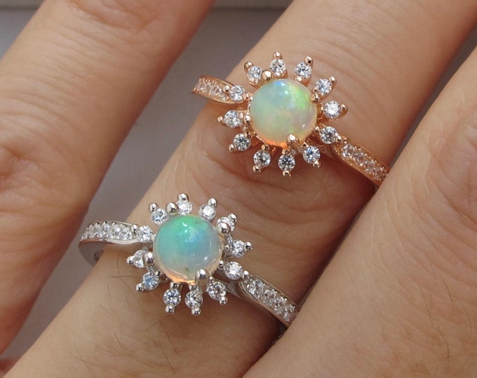 Floral Opal Genuine Halo Promise Ring- Cabochon Round Opal Engagement Ring- Welo Fiery Opal Prong Solitaire Ring- Rose Gold Silver Ring