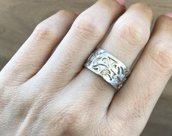 Womens Wedding Floral Band- Leaf Motif Band Ring- Scroll Wide Band Ring- Edwardian Vine Band Ring- Unique Sterling SIlver Band