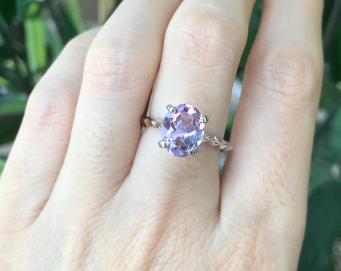 Genuine Purple Amethyst Stackable Ring- Purple Gemstone Cocktail Ring- Sterling Silver Amethyst Ring- Unique Purple Statement Ring