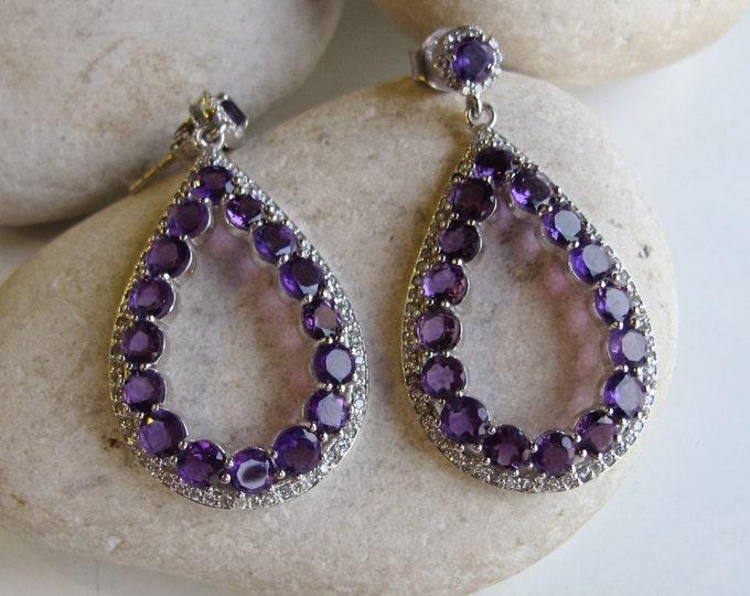 Purple Amethyst Cluster Earring- Boho Beaded Hoop Earring- Purple Dangle Earring- February Birthstone Earring- Silver Large Hoop Earring
