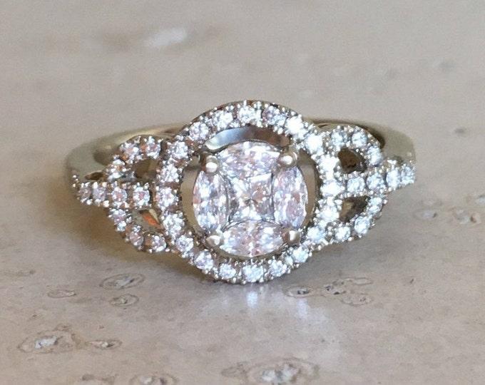 Art Deco Cluster Diamond Engagement Bridal White Gold Ring Set Edwardian Engagement Set Ring- Art Noveau Engagement Ring- Vintage Antique