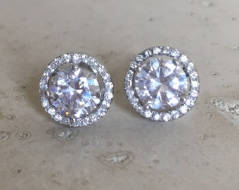 Round Bridal Stud- Cubic Zirconia Halo Earring- Sterling Silver Earring- Classic Round Stud- Wedding Earring- Halo Stud Earring