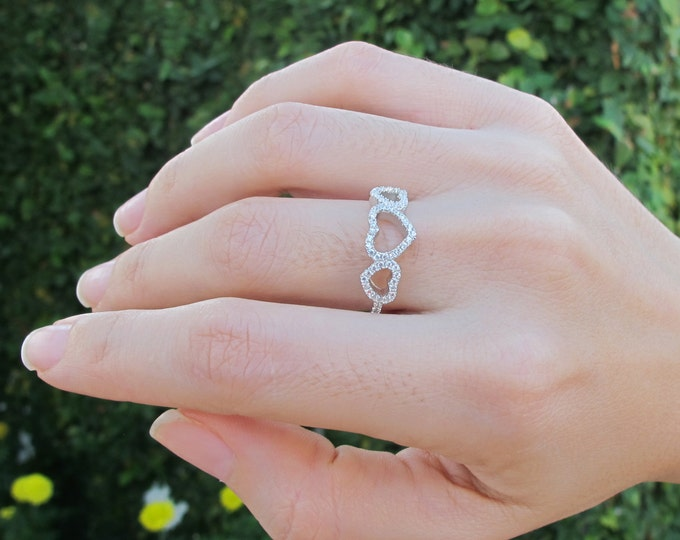Triple Heart Cubic Zirconia Ring- Valentine Heart Promise Ring for Her- Romantic Jewelry Gifts for Her- 3 Heart Diamond Silver Ring
