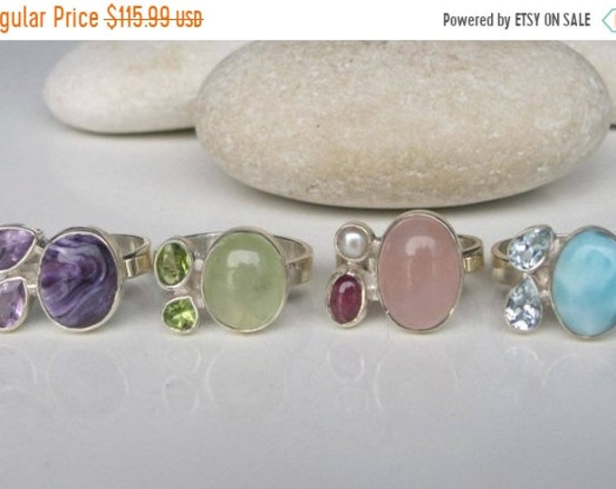 40% OFF SALE Boho Sterling Silver Multistone Cluster Gemstone Ring All sizes 9 10 Gypsy Tribal