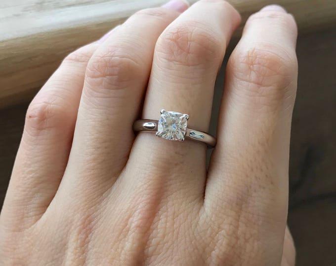 Moissanite Engagement Ring- Classic Moissanite Promise Ring- Alternative Engagement Ring- 1 Carat Solitaire Ring- Simple Engagement Ring