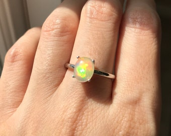 Simple White Gold Opal Ring- Solitaire Opal Engagement Ring- Minimal Opal Promise Ring- October Birthstone Ring- Oval Opal Wedding Ring