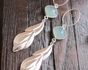 Long Leaf Dangle Earring- Something Blue Earring- Vine Statement Earring- Sterling Silver Branch Earring- Aqua Bold Drop Earring