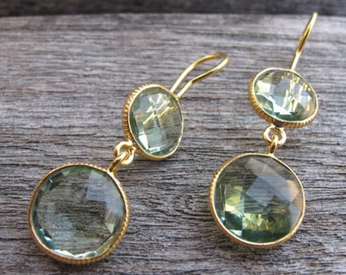 Green Amethyst Double Dangle Minimalist Earring- Two Stone Green Drop Long Earrings- Green Gemstone Gold Round Earring