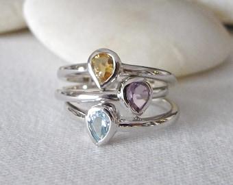 Stack Midi Ring- Gemstone Stack Ring- Mothers Ring- Amethyst Ring- Blue Topaz Ring- Citrine Ring- Birthstone Stack Rings- Trio Ring Set
