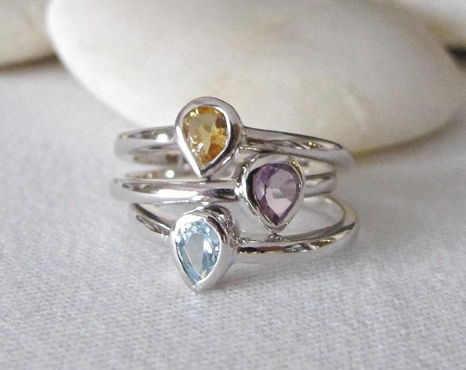 Family Gemstone Stack Trio Ring- Amethyst Blue Topaz Citrine Silver Ring- Mothers Children Birthstone Stack Ring- Feb Dec Nov Birthstone