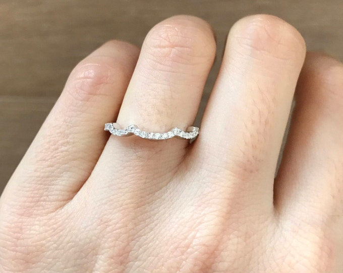 Unique Scallop Wedding Band- Bridal Engagement Band- Cubic Zirconia Band- Sterling Silver Stackable Band- Half Eternity Wedding Band