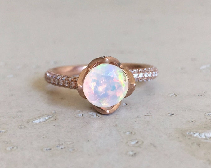 Rose Gold Opal Engagement Ring- Opal Floral Promise Ring- Round Opal Anniversary Ring- Flower Solitaire Opal Diamond- Welo Opal Genuine Ring
