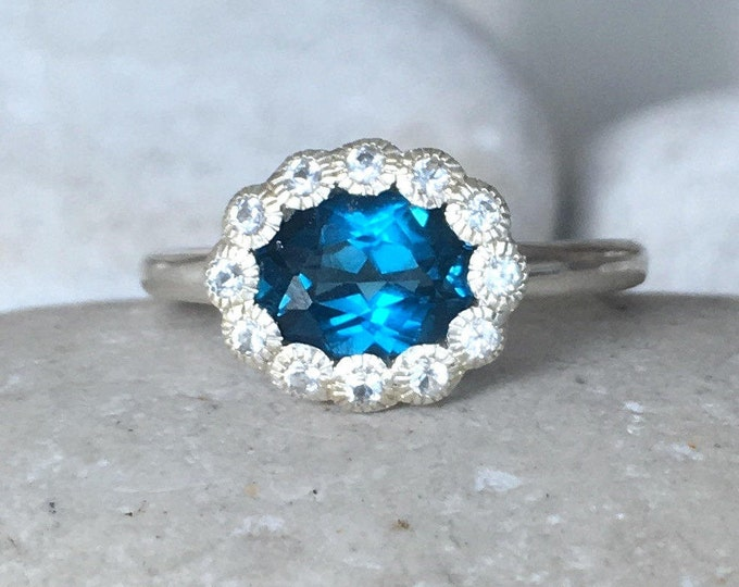 London Blue Topaz Ring Oval Halo Promise Ring Dark Blue Topaz Ring- December Birthstone Ring