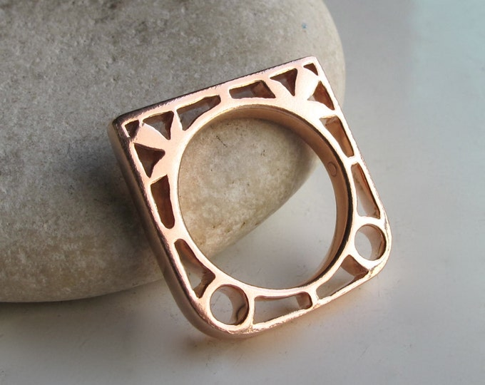 Floral Nature Inspired Geometric Statement Ring- Unique Silhouette Silver Contemporary Ring- Rose Gold Stackable Flower Ring- Ring for Teen