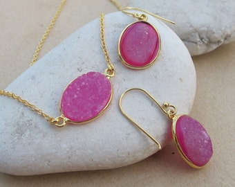 Raw Druzy Earring Necklace Jewelry -Pink Oval Druzy Set- Natural Rough Stone Necklace Earring - Druzy Necklace Earring- Simple Jewelry Set