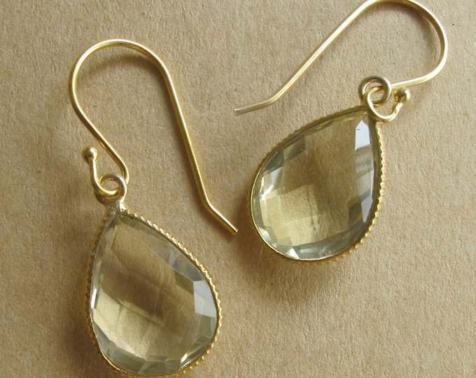 Green Amethyst Simple Teardrop Gold Earring- February Birthstone Dangle Earring- Green Pear Shape Gemstone Earring- Green Stone Earring