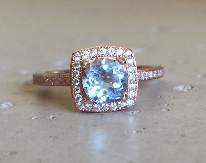 Rose Gold Aquamarine Ring- Halo Aquamarine Engagement Ring- Blue Gemstone Promise Ring- March Birthstone Ring- Round Aqua Ring