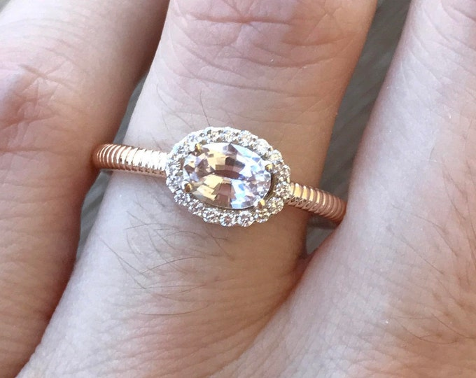 Peach Sapphire Engagement Ring- Deco Halo Promise Ring- Rose Gold Engagement Ring- Woman Alternative Ring- Simple Oval Anniversary Ring