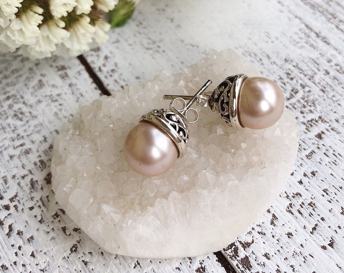 Genuine Pink Pearl Earring- Natural Freshwater Pearl Stud Earring- Bridal Pink Pearl Earring- June Birthstone Earring- Filigree Stud Earring