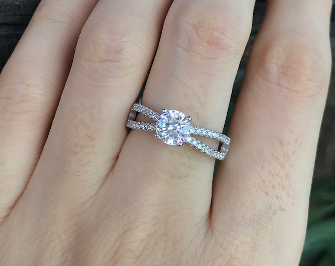 Simulant Diamond Engagement Split Ring- 4 Prong Round Colorless Promise Ring for Her- Non Diamond Alternative Engagement Ring- Clear Ring