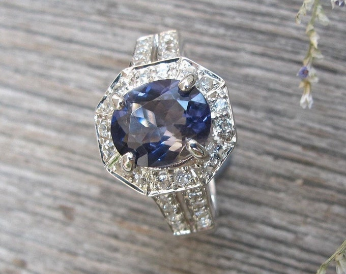 Genuine Iolite Oval Silver Engagement Ring- Natural Iolite Halo White Topaz Promise Ring- Bluish Purple Gemstone Solitaire Split Ring
