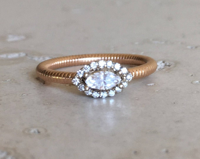 Marquise Diamond Dainty Engagement Ring- Simple Diamond Engagement Ring- Delicate Minimalist Engagement Ring- White Rose Gold Halo  Ring
