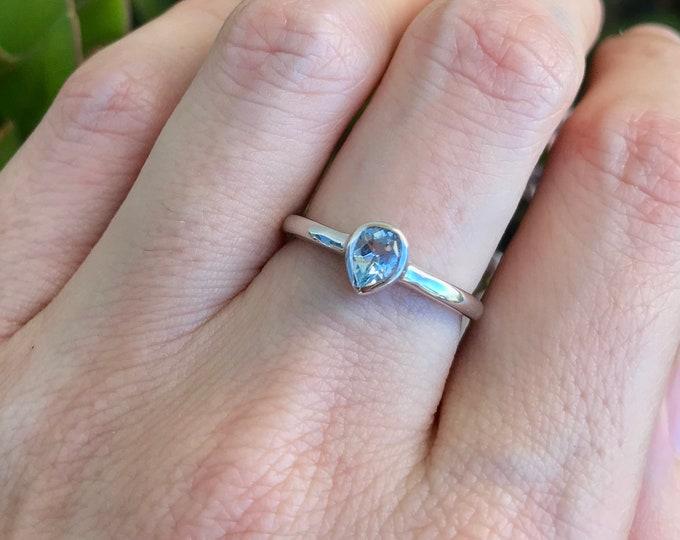 Blue Topaz Stack Teardrop Ring- Tiny Blue Pear Dainty Ring- Teen Sterling Silver Gemstone Ring- Children Ring- December Birthstone Ring
