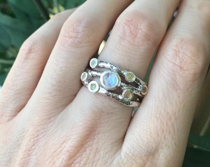 Moonstone Opal Wide Cluster Band- Iridescent Woman Wedding Band- Rustic Wavy Organic Band- Nature Inspired Stone Band- Sterling Silver Band
