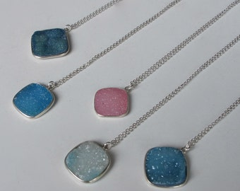 Druzy Necklace Blue Druzy Necklace Layering Boho Everyday Sterling Silver Necklace Druzy Boho Raw Rough Jewelry Simple