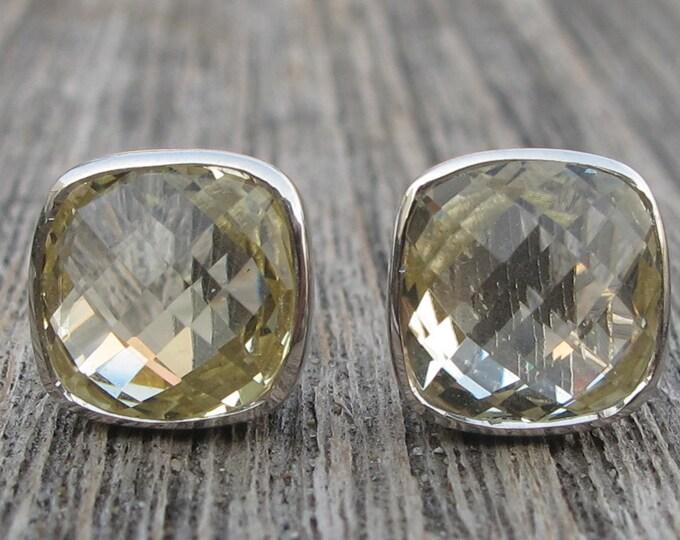 Lemon Quartz Square Stud Earring- Light Yellow Quartz Stud Earring- Square Shape Faceted Earring- Cushion Classic Earring- Silver Earring