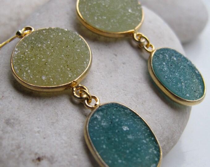 Green Druzy Gemstone Dangle Earring- Two Druzy Long Drop Statement Earring- Druzy Gold Silver Druzy Earring