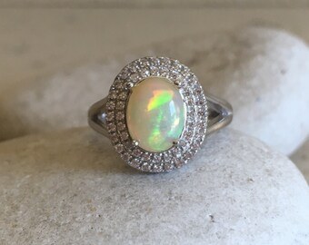Halo Opal Engagement Ring- Oval Opal Promise Ring- Genuine Natural Opal Ring- October Birthstone Ring- Spilt Band Wedding Ring