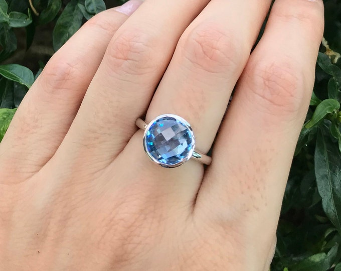 Swiss Blue Topaz Ring- Blue Round Quartz Ring- Blue Gemstone Ring- December Birthstone Ring-Something Blue Ring